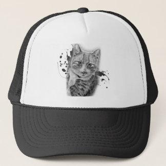 Boné Desenho da arte do gato com pintura preta e