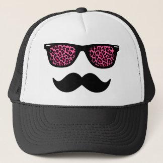 Boné Design do bigode do leopardo do rosa quente