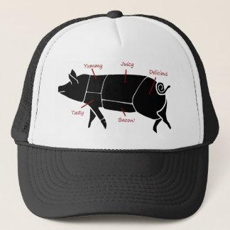Boné Diagrama de carta engraçado do carniceiro do porco