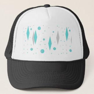 Boné Diamante retro de turquesa & chapéu do camionista