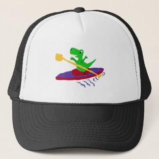 Boné Dinossauro verde engraçado de T-Rex que Kayaking