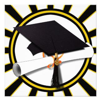 Boné diploma do formando com preto e ouro das convites