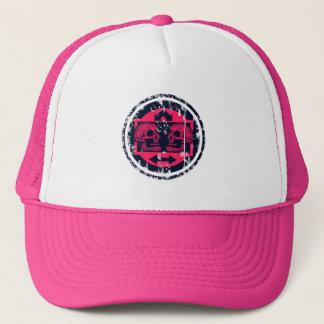 Boné Dois crânios - setas cor-de-rosa de néon -