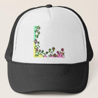 Boné doodle floral da flor dos desenhos animados da