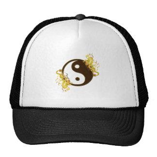 Boné dourado de Yin Yang do dragão