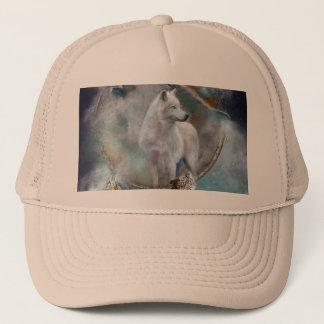 Boné Dreamcatcher do lobo - lobo branco - arte do lobo