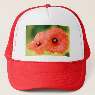 Boné Duo vermelho da flor das papoilas