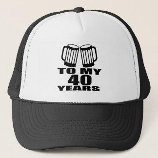Boné Elogios a meus 40 anos do design do aniversário