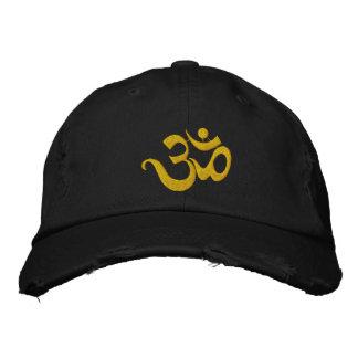 Boné escuro bordado OM da ioga