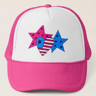 Boné Estrelas e chapéu patrióticos do coração