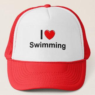 Boné Eu amo a natação do coração