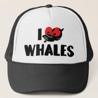 Boné Eu amo baleias do coração - amante da baleia