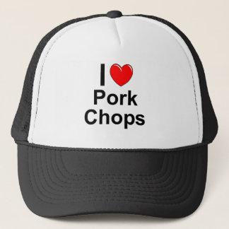 Boné Eu amo costeletas de carne de porco do coração