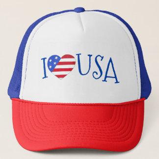Boné Eu amo EUA o coração patriótico da bandeira