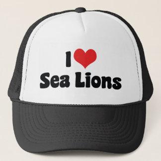 Boné Eu amo leões de mar do coração