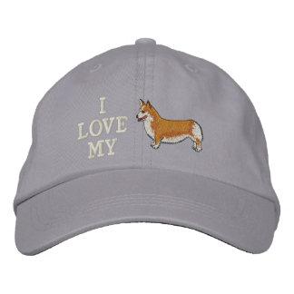Boné Eu amo meu chapéu bordado Corgi
