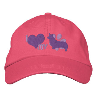 Boné Eu amo meu chapéu bordado Corgi de Galês do