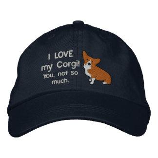 Boné Eu amo meu chapéu bordado obscuridade do Corgi