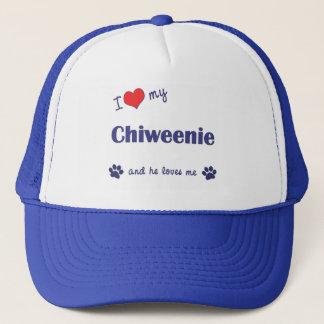 Boné Eu amo meu Chiweenie (o cão masculino)