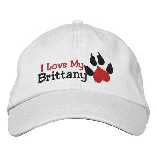 Boné Eu amo meu impressão da pata do cão de Brittany