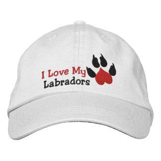 Boné Eu amo meu impressão da pata do cão de Labradors