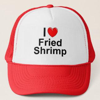 Boné Eu amo o camarão fritado coração