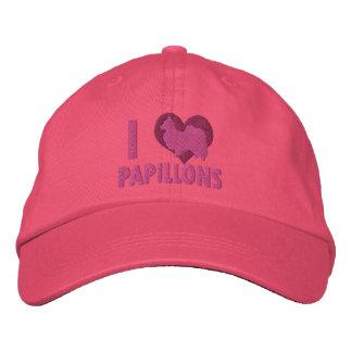 Boné Eu amo o chapéu bordado Papillons (o rosa)