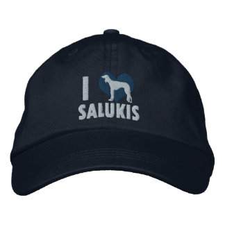 Boné Eu amo o chapéu bordado Salukis (azul)