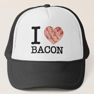 Boné Eu amo o chapéu do camionista do bacon