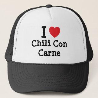 Boné Eu amo o t-shirt do coração de chili con carne