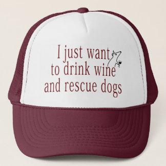 Boné Eu apenas quero beber o vinho e salvar cães