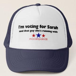 Boné Eu estou votando para Sarah