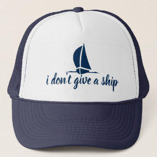 Boné Eu não dou um navio - chapéu náutico bonito do