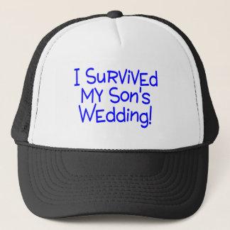 Boné Eu sobrevivi a meus filhos que Wedding o azul