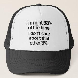 Boné Eu sou 98% direito do tempo