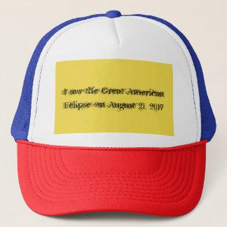 Boné Eu vi o grande eclipse americano o 21 de agosto,