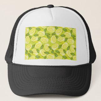 Boné Fatias e folhas amarelas do limão do verão no