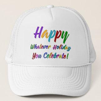 Boné Feliz colorido o que feriado você comemora!