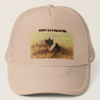 """Boné """"Feliz como um porco no chapéu do camionista dos"""