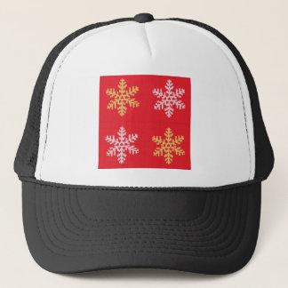 Boné Floco de neve feito malha vermelho