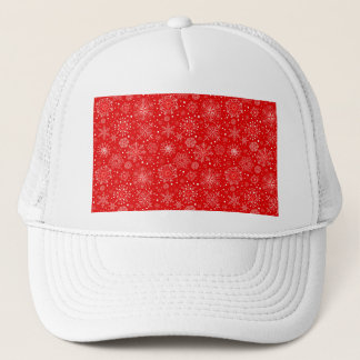 Boné Flocos de neve brancos no vermelho do Natal