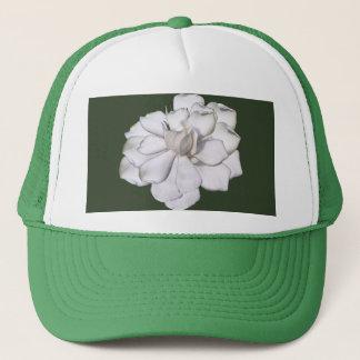 Boné Flor branca do Gardenia no verde