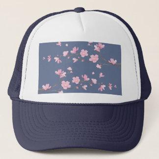 Boné Flor de cerejeira - azul da sarja de Nimes
