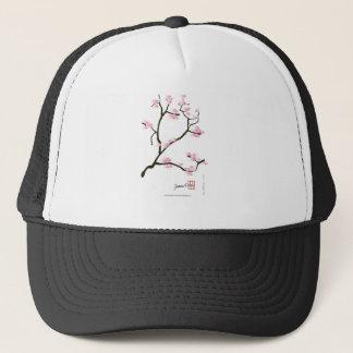 Boné flor de sakura com pássaros cor-de-rosa, fernandes