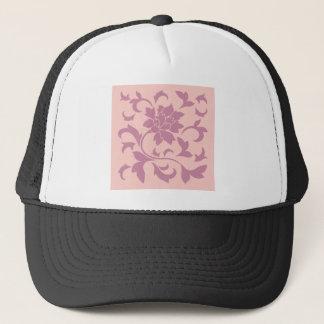 Boné Flor oriental - morango & quartzo cor-de-rosa
