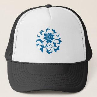 Boné Flor oriental - teste padrão circular azul do