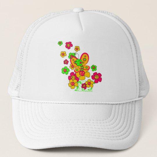 "Boné ""Flores e borboleta"""