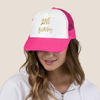 Boné Folha de ouro do aniversário de 21 anos e chapéu