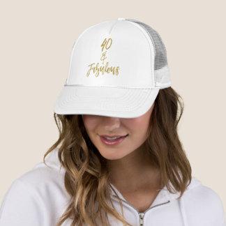 Boné Folha de ouro do aniversário de 40 anos e chapéu