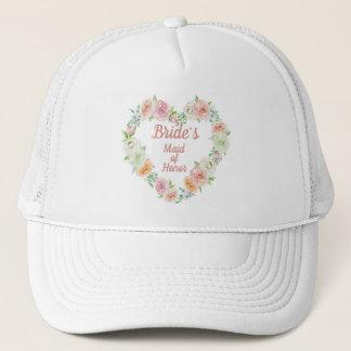 Boné Grinalda do coração da flor do rosa da madrinha de
